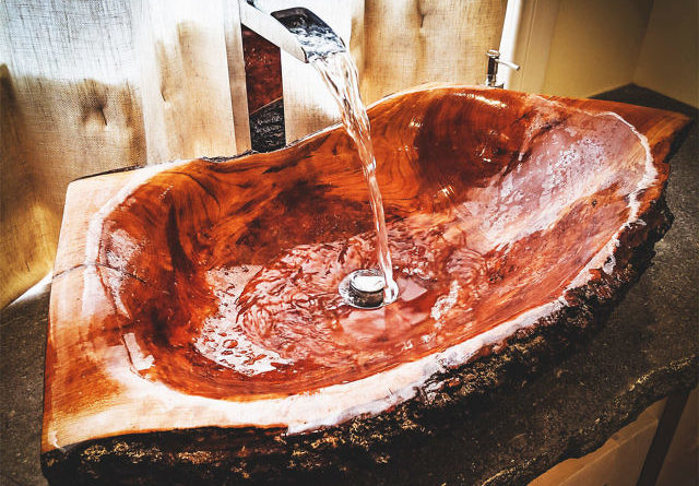Wooden Log Bathroom Sink