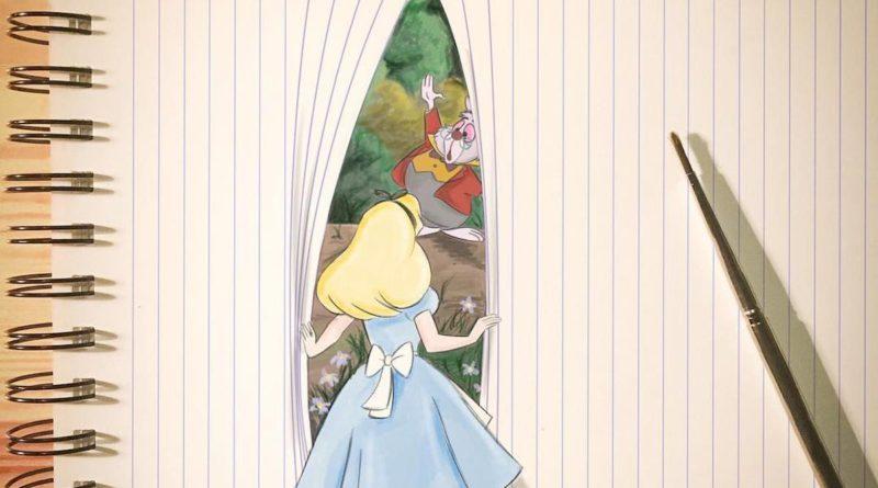 Cet illustrateur joue avec les lignes des cahiers pour donner vie aux personnages Disney