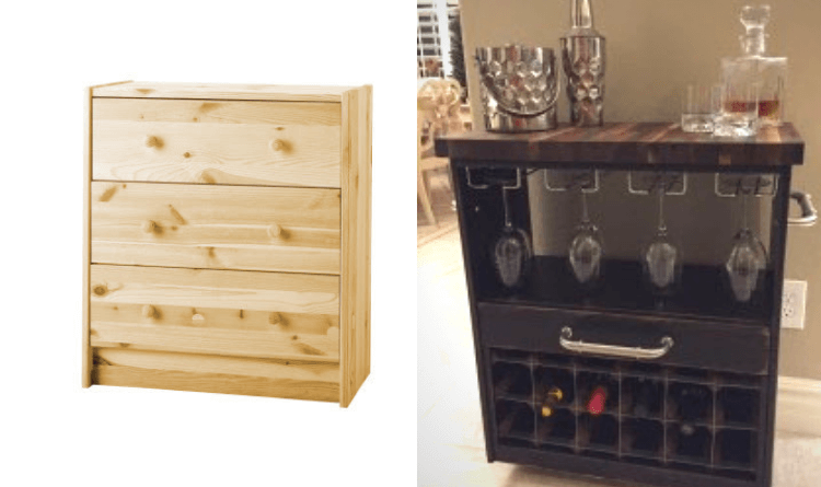 IKEA RAST Dresser Hack: Wine cart
